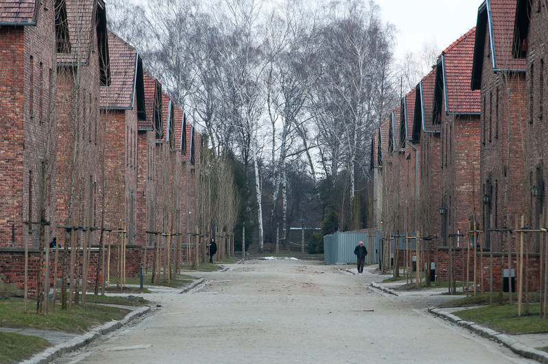 Row of brick buildings inside the concentration camp - Krakow, Poland