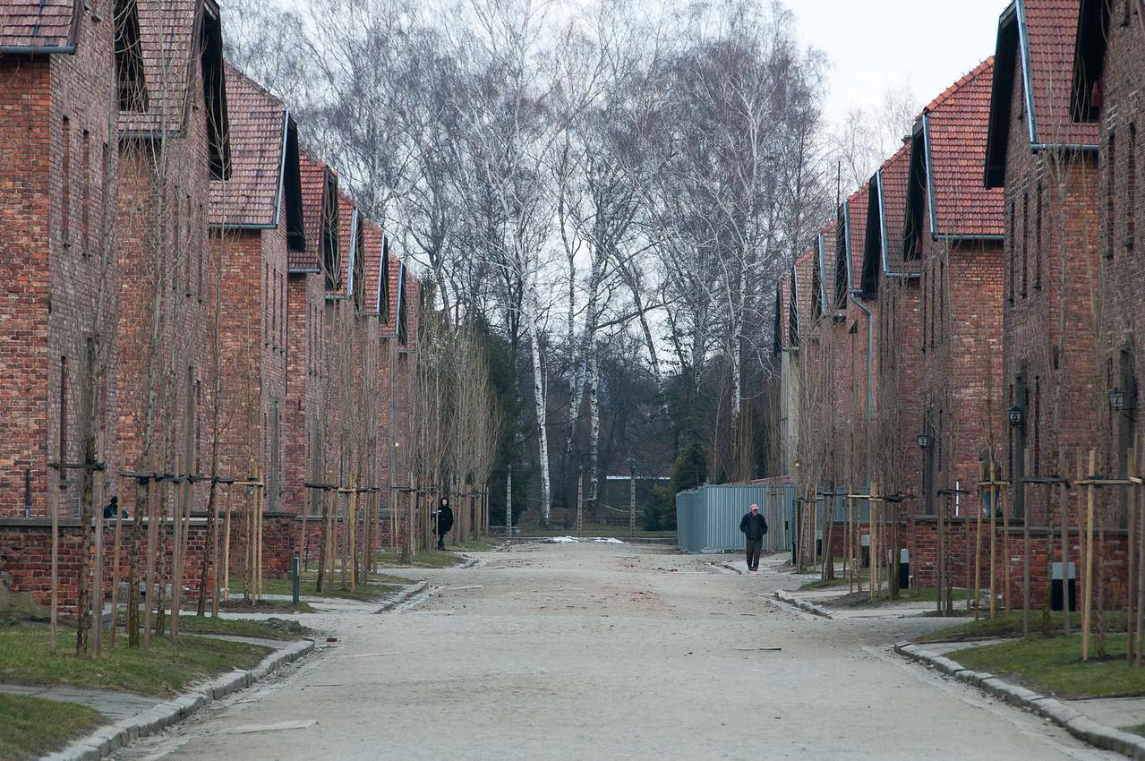 Row of brick buildings inside the concentration camp - Krakow, Poland