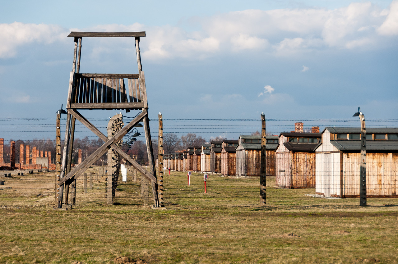 The watch tower next to the concentration camp in Poland
