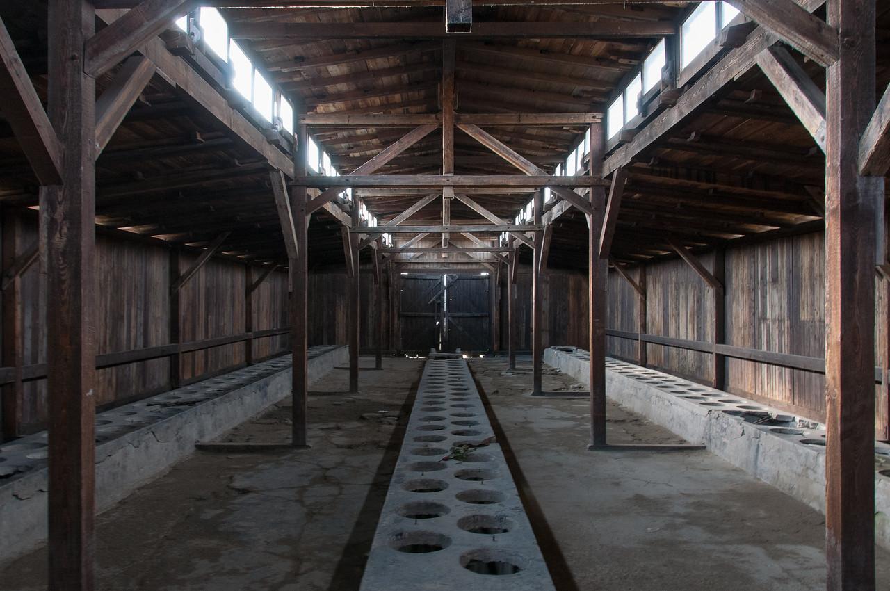 The toilets at Auschwitz Birkenau in Poland