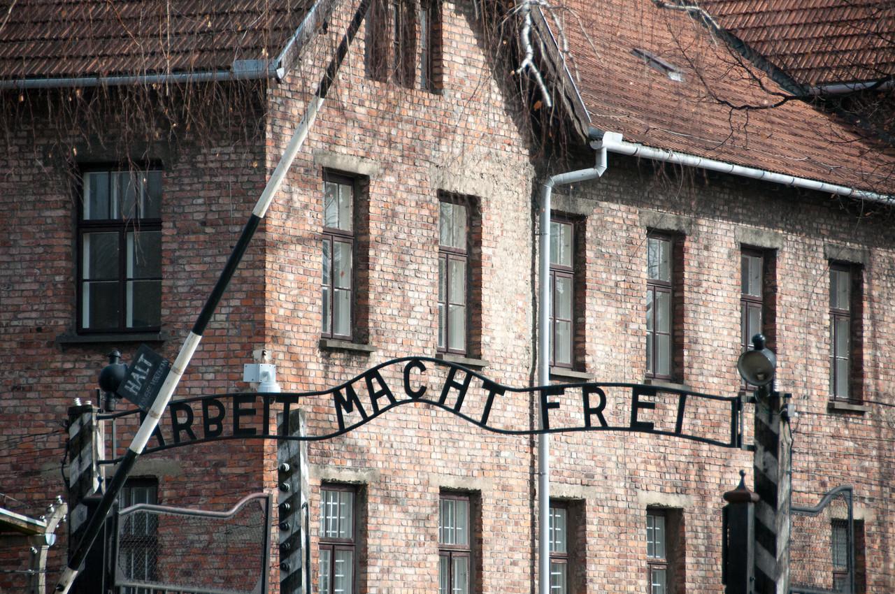 The entrance gate to Auschwitz Birkenau in Krakow, Poland