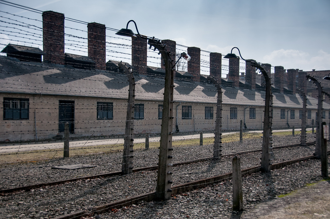 Buildings inside the concentration camp of Auschwitz Birkenau in Krakow, Poland
