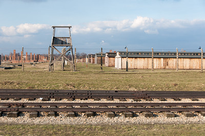 Watch tower and the concentration camp in Auschwitz Birkenau - Poland