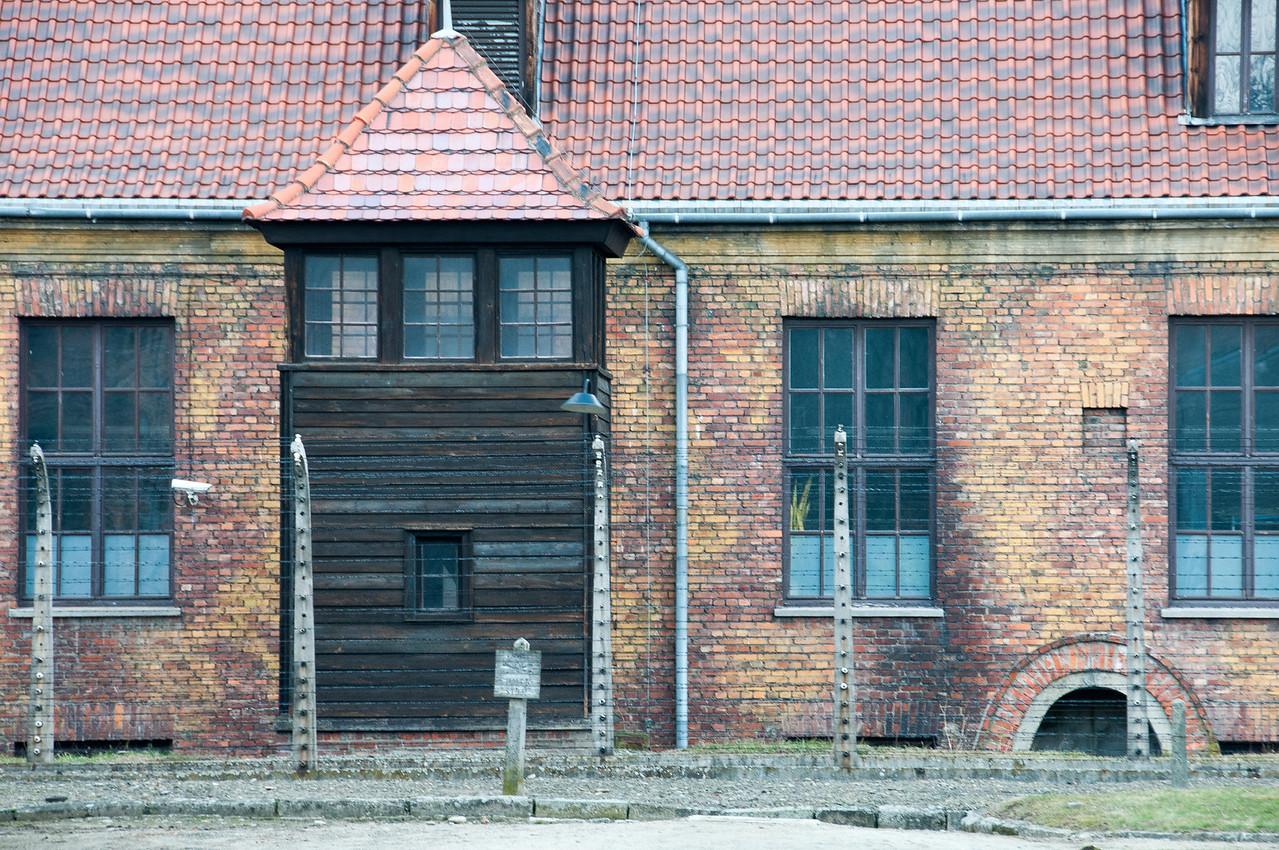 Watch tower next to a building in Auschwitz Birkenau in Krakow, Poland