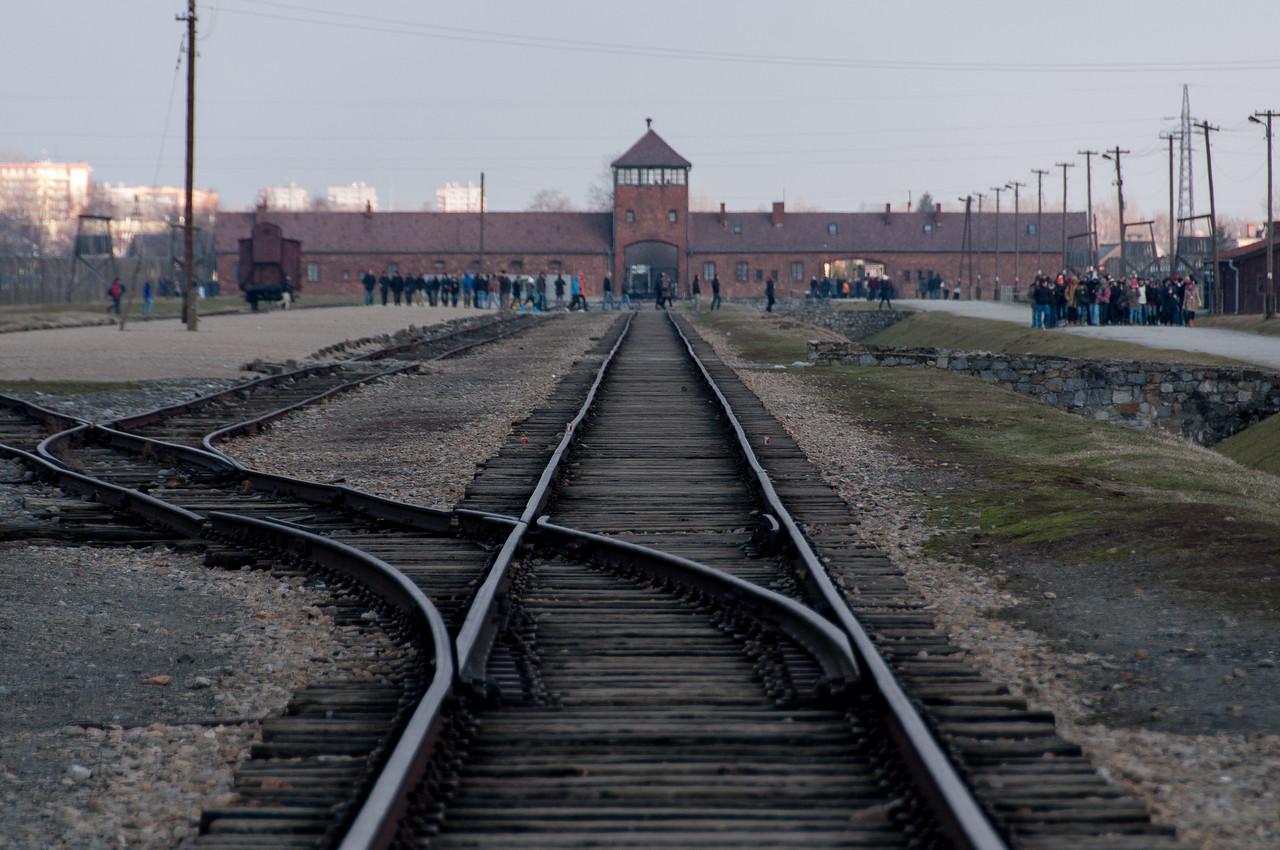 Railway rack to main entrance of Auschwitz Birkenau in Poland