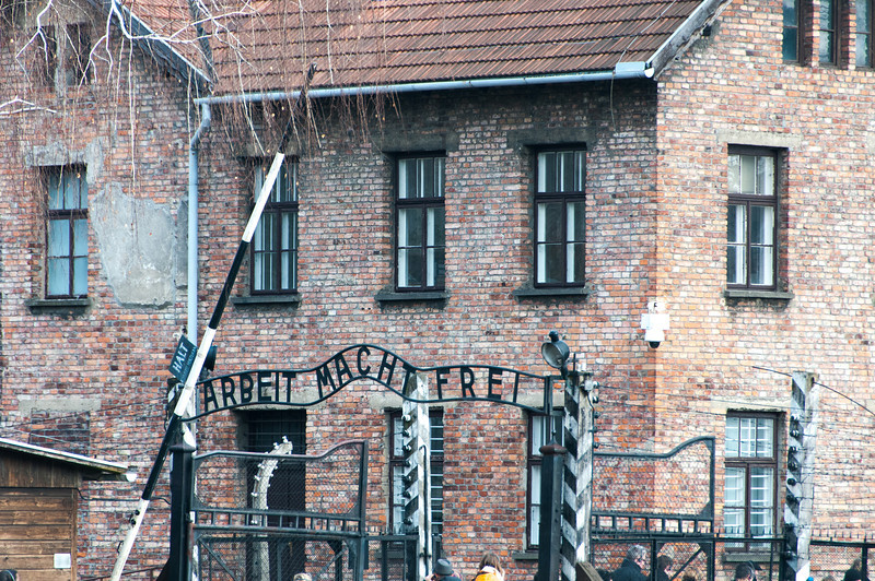 The entrance gate to Auschwitz Birkenau in Krakow, Poland