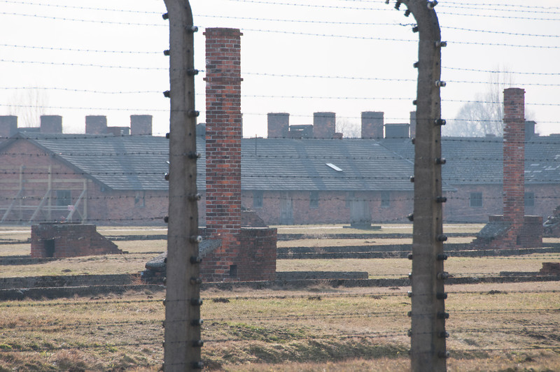 View of Auschwitz Birkenau museum through barbed wire fence - Poland