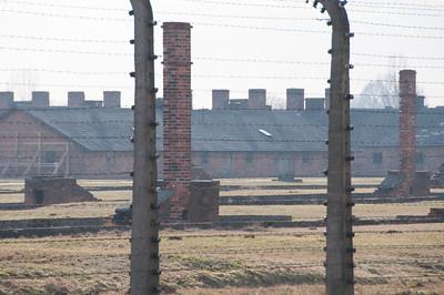 View of Auschwitz Birkenau museum through barbed wire fence - Poland