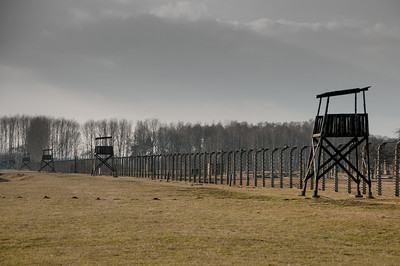 Watch towers guarding the perimeter of the concentration camp - Poland