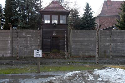 Guard watch tower in Auschwitz Birkenau concentration camp - Krakow, Poland