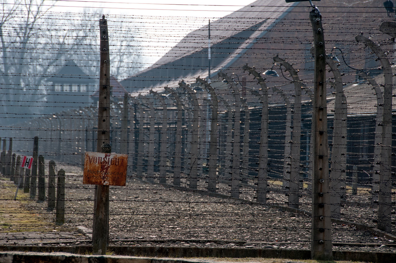 Barbed wire fences inside Auschwitz Birkenau in Poland