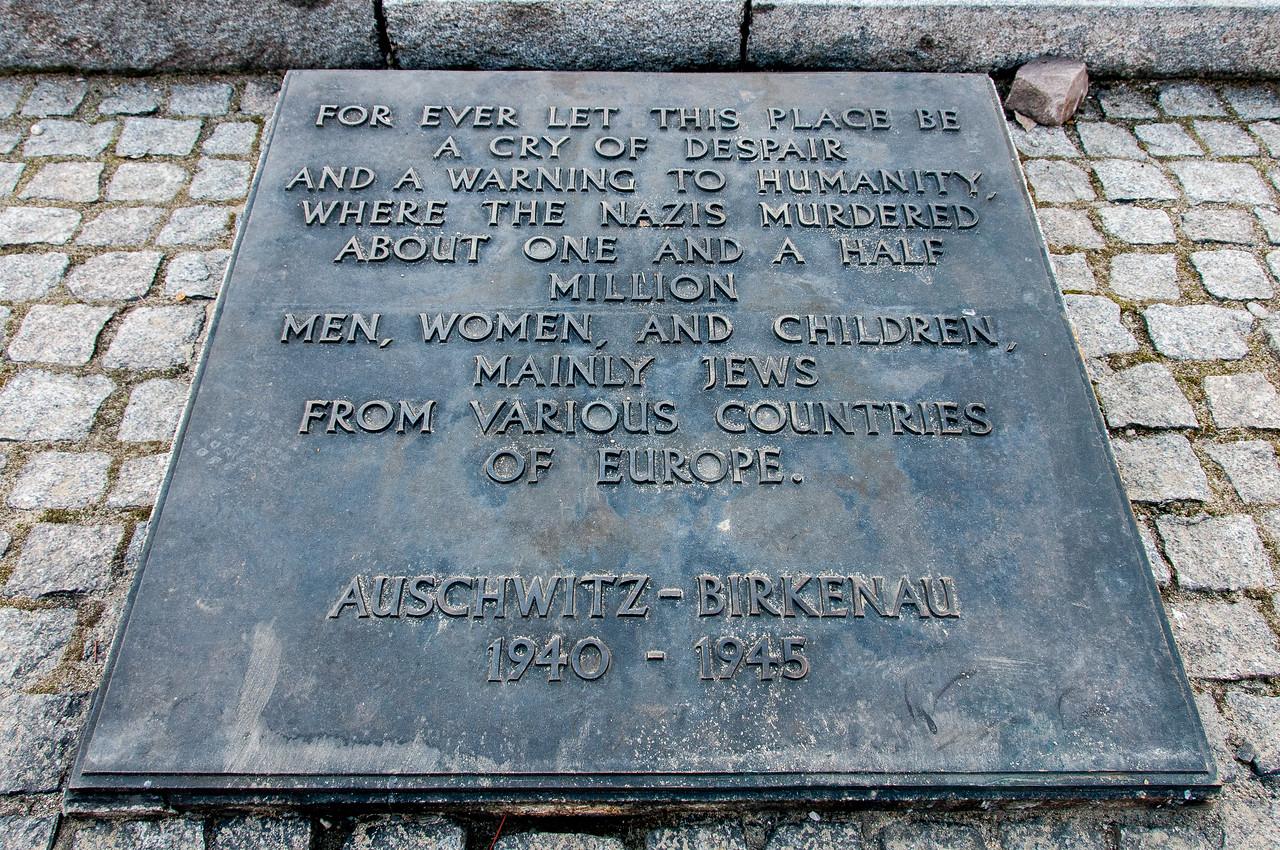 Memorial for victims at Auschwitz Birkenau in Poland