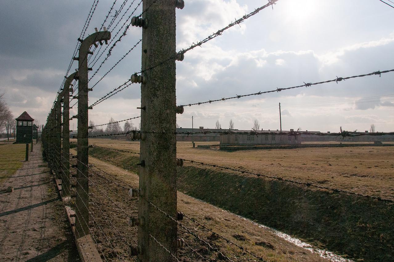 Barbed wire fence at Auschwitz Birkenau in Poland