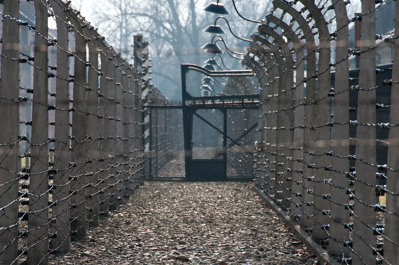 Fences inside the concentration camp of Auschwitz Birkenau in Poland