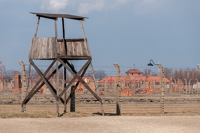 The watch tower over the concentration camp in Auschwitz Birkenau - Poland