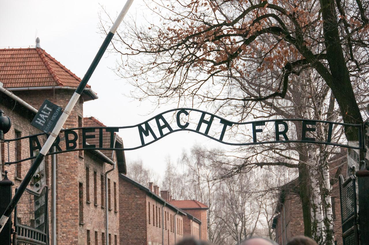 Entrance gate to Auschwitz Birkenau in Krakow, Poland