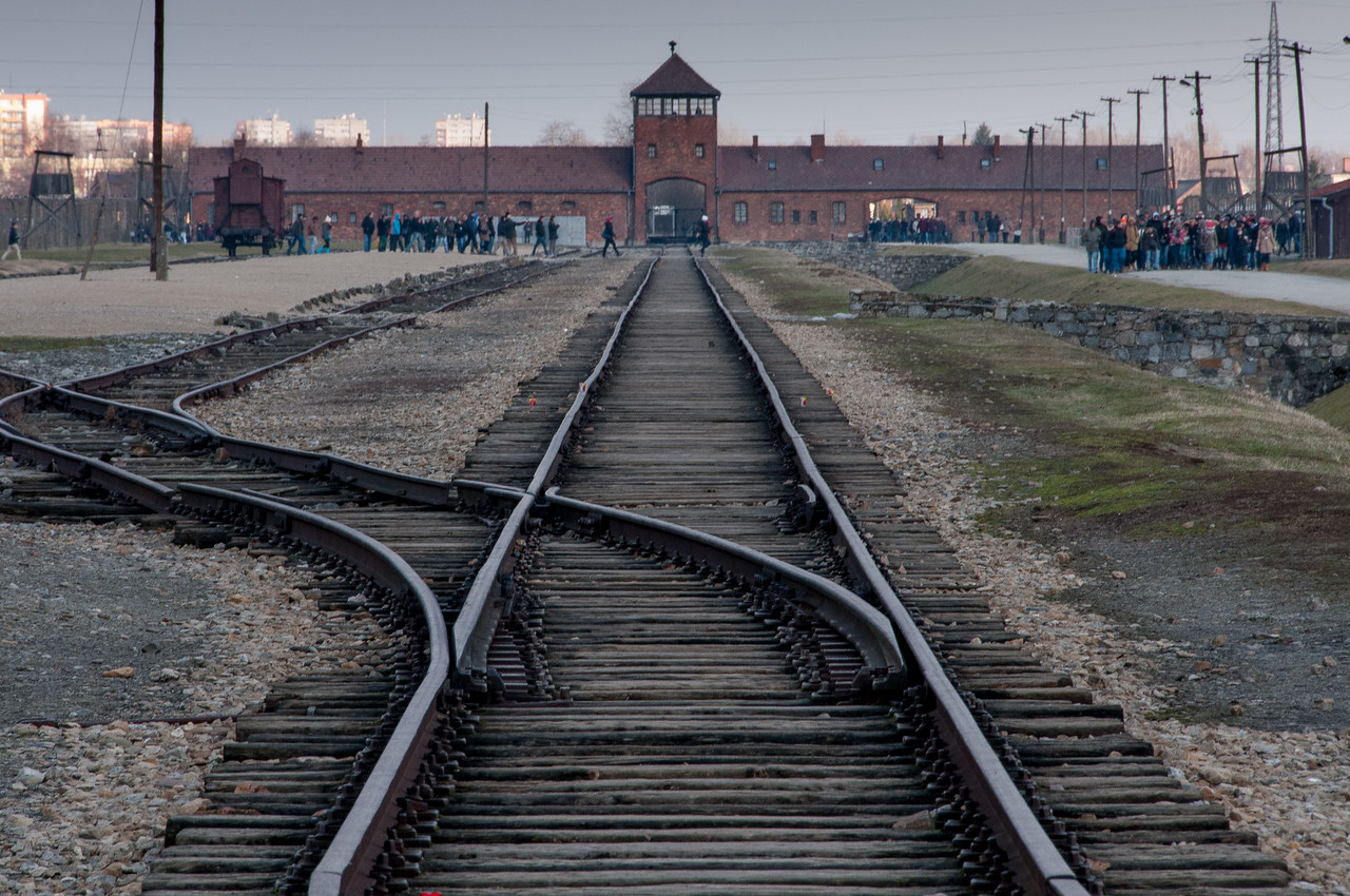 The railway track and main gate at Auschwitz Birkenau in Poland