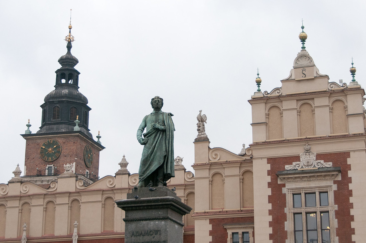 Adam Mickiewicz Monument In The Main Market Square In Krakow, Poland