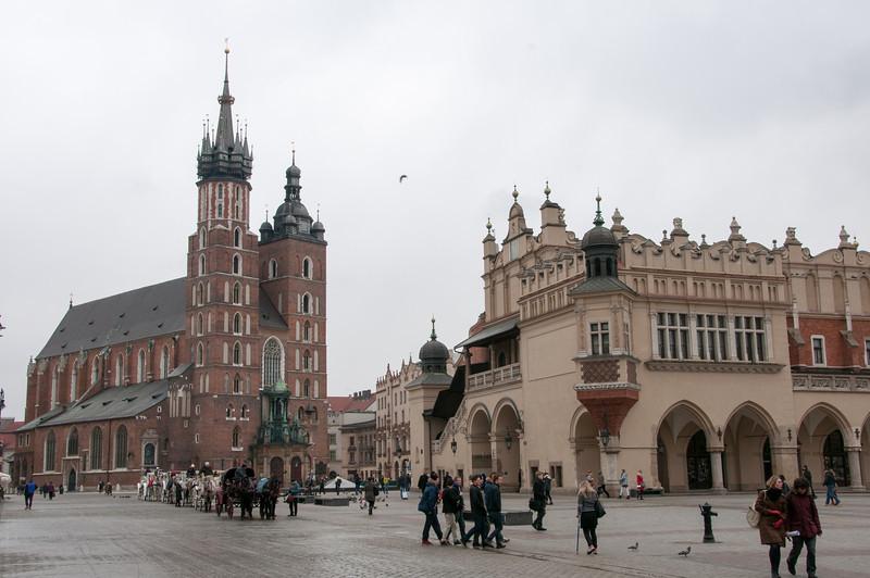 St. Mary's Church and Krakow Cloth Hall in Krakow, Poland