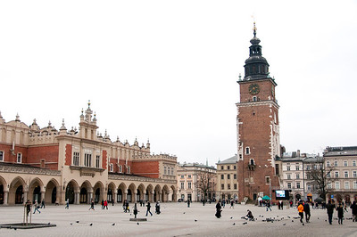 The Town Hall Clock Tower in Market Square, Krakow, Poland