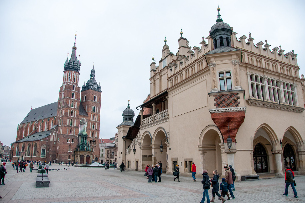 St.Mary's Church and Krakow Cloth Hall in Market Square - Krakow, Poland
