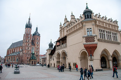 St.Mary's Church and Krakow Cloth Hall in Market Square - Krakow, Poland