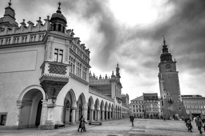 Cloth Market and Town Hall Tower at Main Market Square in B&W - Krakow, Poland