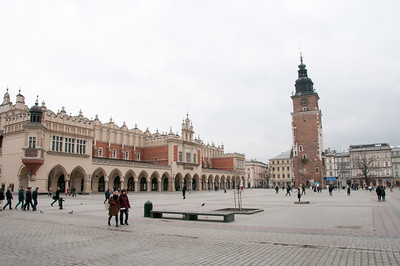 Main market square with the Krakow Cloth Hall and Town Hall Tower - Krakow, Poland