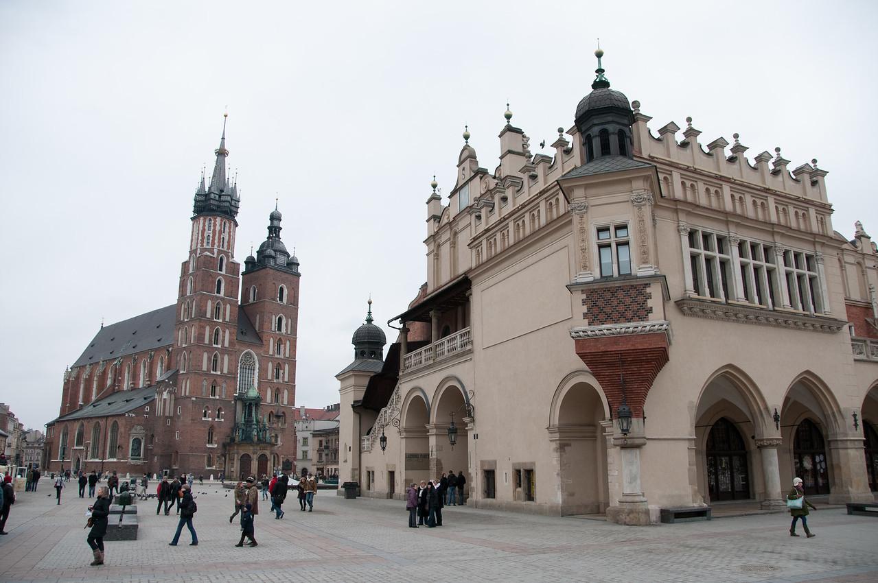 St. Mary's Church and Krakow Cloth Hall at Market Square - Krakow, Poland