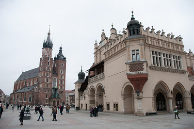 St. Mary's Church and Krakow Cloth Hall at Market Square - Krakow, Poland