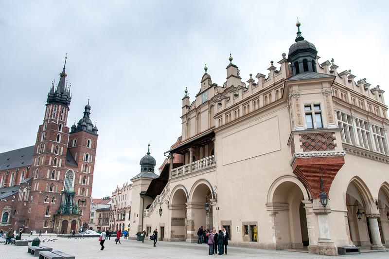 St. Mary's Church next to Krakow Cloth Hall - Krakow, Poland