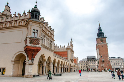 Cloth Market and Town Hall Tower at Main Market Square, Krakow, Poland