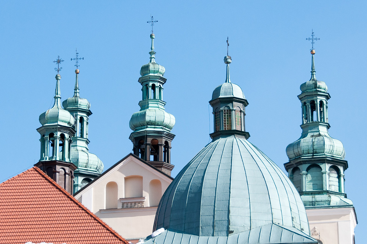 The domes and bell towers of the Monastery in Kalwaria Zebrzydowska - Poland