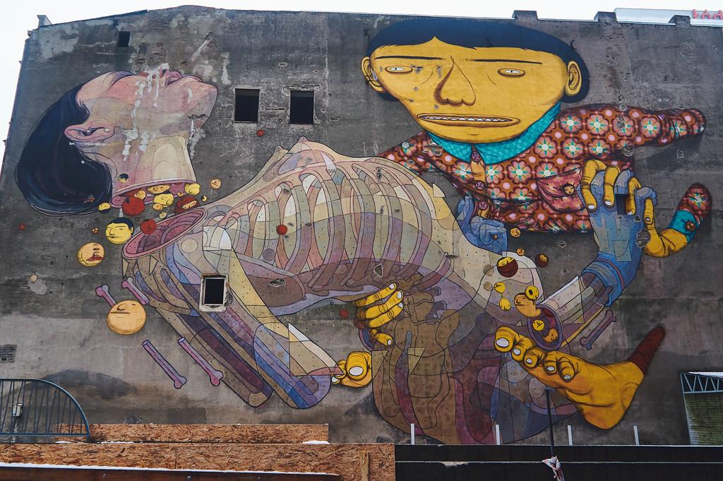 Os Gémeos & Aryz mural in Lodz, Poland
