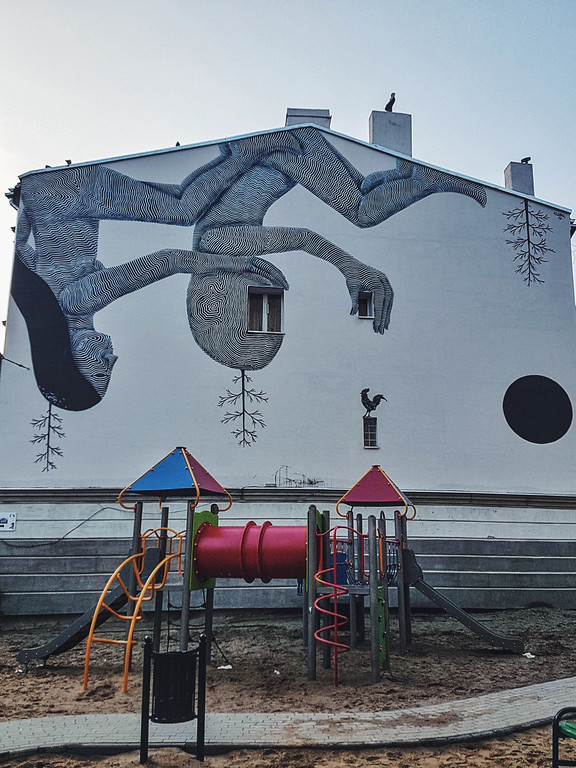Midnight Lovers mural by Klone Yourself in Lodz, Poland