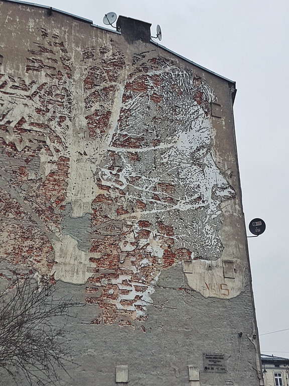Vhils street art in Lodz, Poland