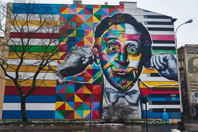 Arthur Rubinstein portrait by Eduardo Kobra in Lodz, Poland