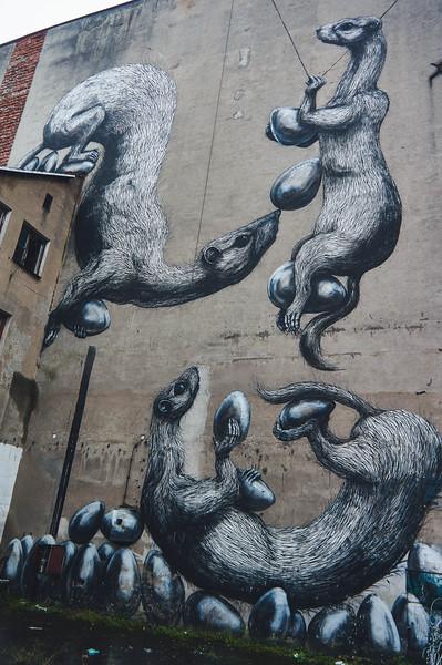 Roa street art in Lodz, Poland