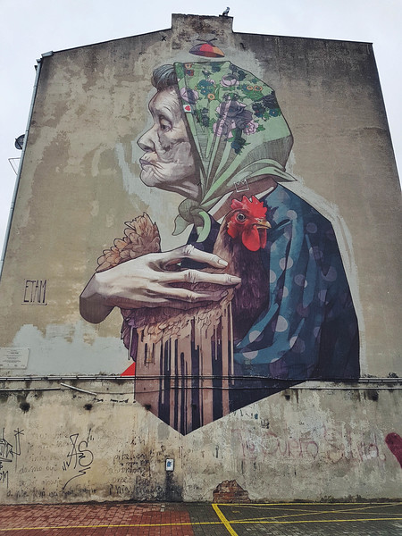 Madame Chicken mural by Etam Cru in Lodz, Poland