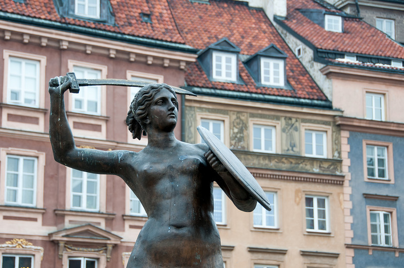 Mermaid statue at the center of Old Town Market Place in Warsaw, Poland