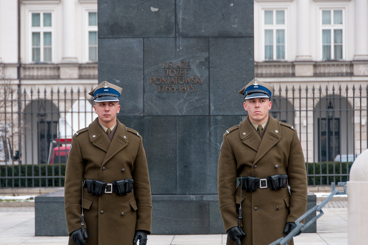 The guards at the Presidential Palace in Warsaw, Poland