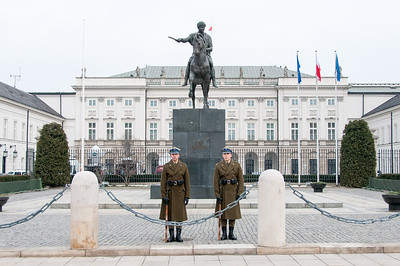Bertel Thorvaldsen's equestrian statue of Prince Józef Poniatowski in front of the Presidential Palace - Warsaw, Poland