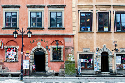 Shops near the Castle Square in Warsaw, Poland