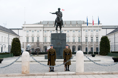 Guards in front of the Presidential Palace in Warsaw, Poland