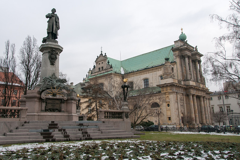Adam Mickiewicz Monument and the Carmelite Church in Warsaw, Poland