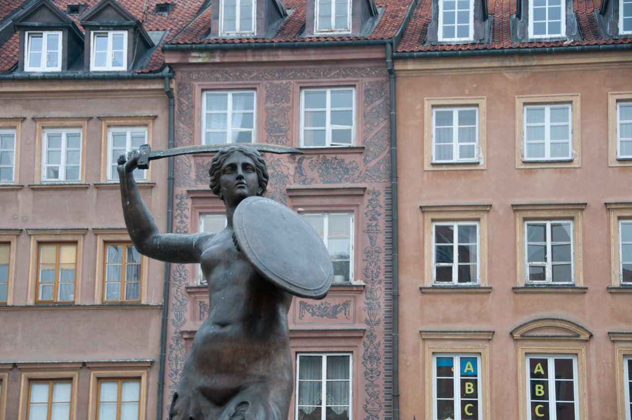 Mermaid statue at the Old Town Market Place in Warsaw, Poland