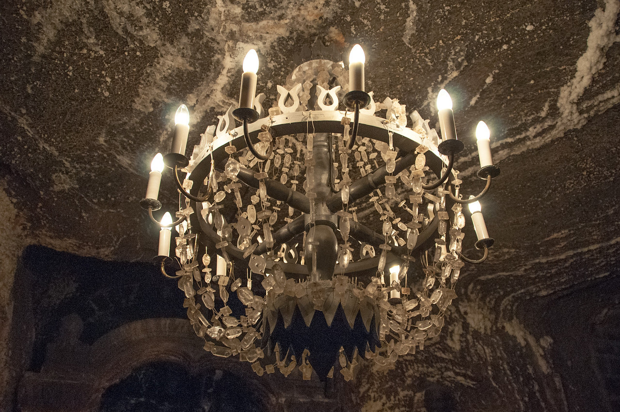 Chandelier carved in salt inside the Wieliczka Salt Mine in Poland
