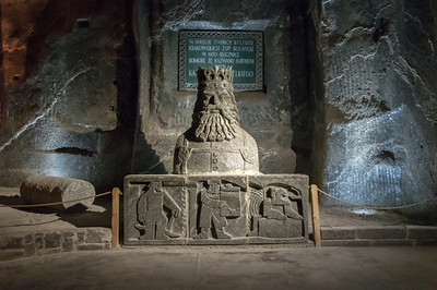 Carved salt statue of King Kazmierz in Wieliczka Salt Mine in Poland