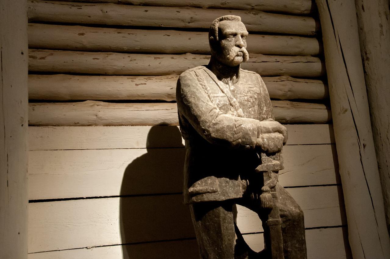 Salt statue of Jozef Pilsudski in Wieliczka Salt Mine in Poland