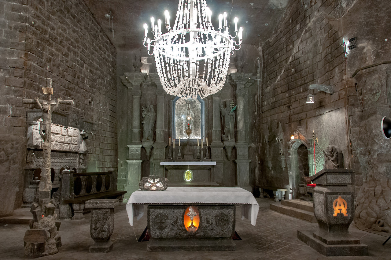 Altar in the St. Kinga's Chapel in the Wieliczka Salt Mine in Poland